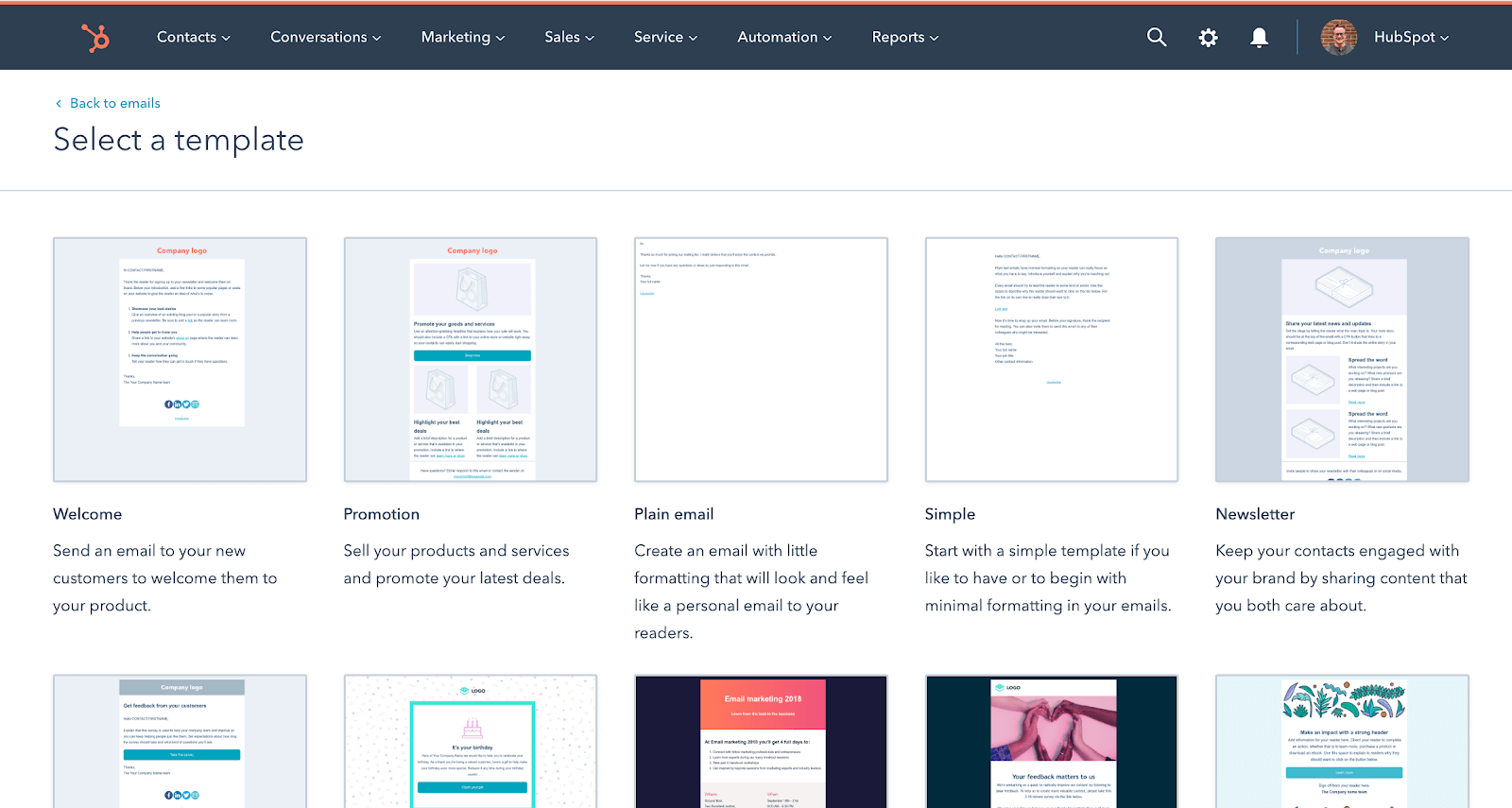 HubSpot email marketing templates