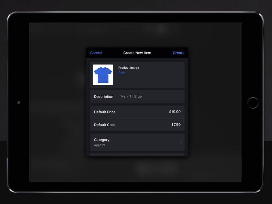 lightspeed ipad app create new product
