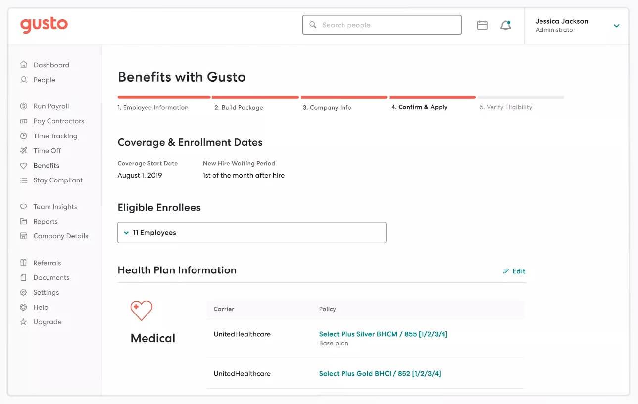 Gusto payroll benefits