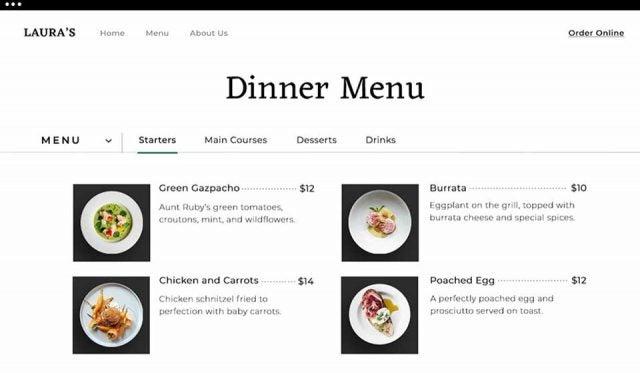 wix dinner menu