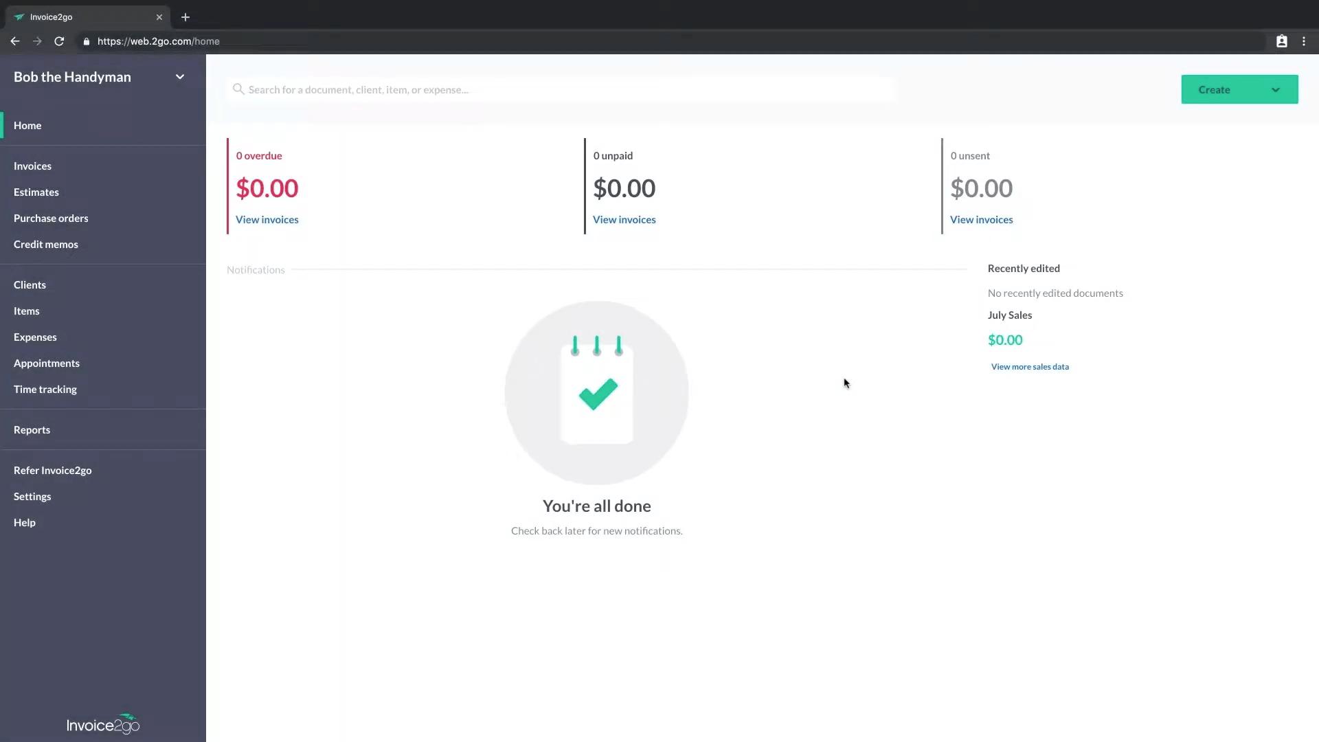 Invoice2Go Interface